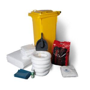 Portabelt spillkit med absorbenter för olja