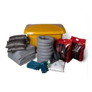 Spillkit med absorbenter för vatten och olja